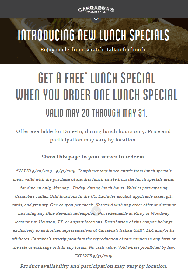 Carrabbas Coupon June 2019 Second lunch free at Carrabbas