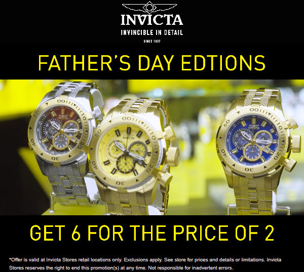 Invicta Coupon November 2019 6-for-2 on Fathers day watches at Invicta