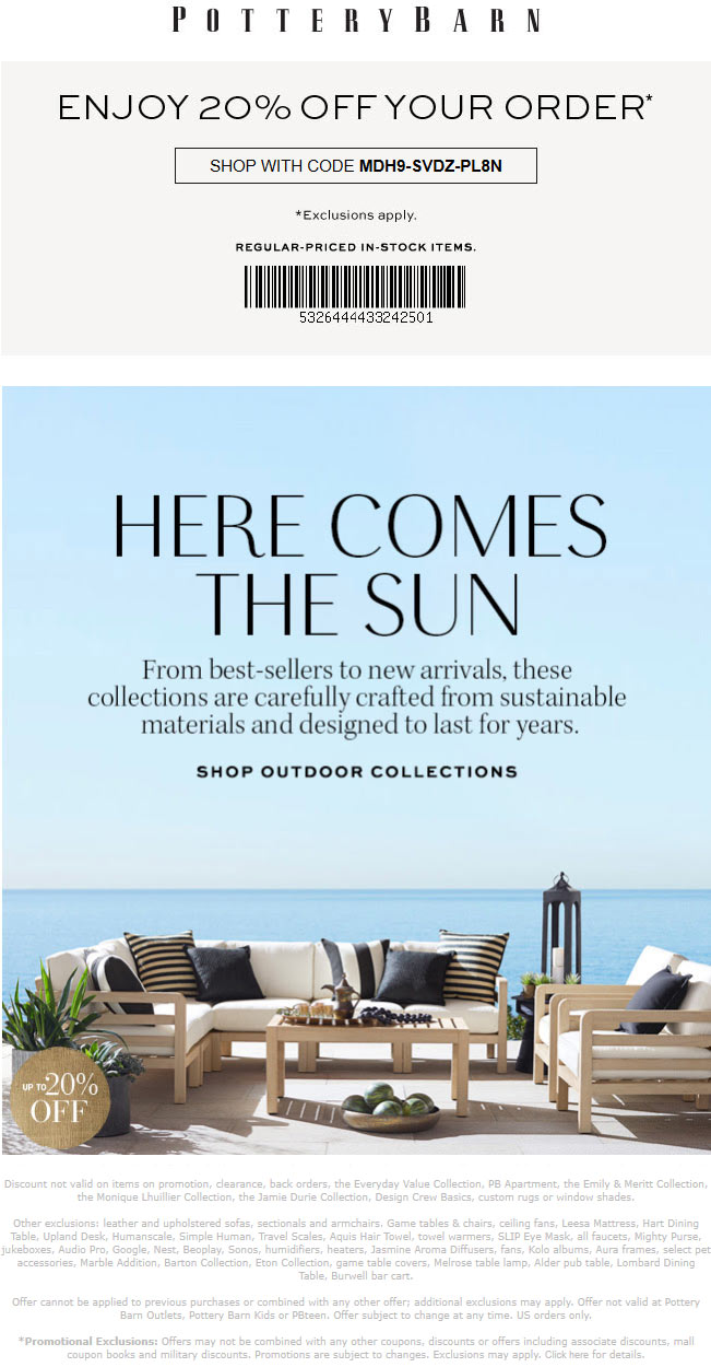 Pottery Barn Coupon October 2019 20% off at Pottery Barn, or online via promo code MDH9-SVDZ-PL8N