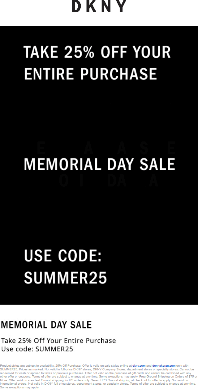 DKNY.com Promo Coupon 25% off at DKNY, or online via promo code SUMMER25