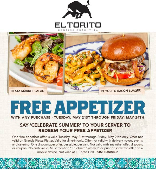 El Torito Coupon September 2019 Free appetizer with any order at El Torito