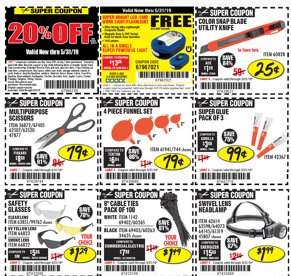 Harbor Freight Tools Coupon November 2019 20% off a single item at Harbor Freight Tools