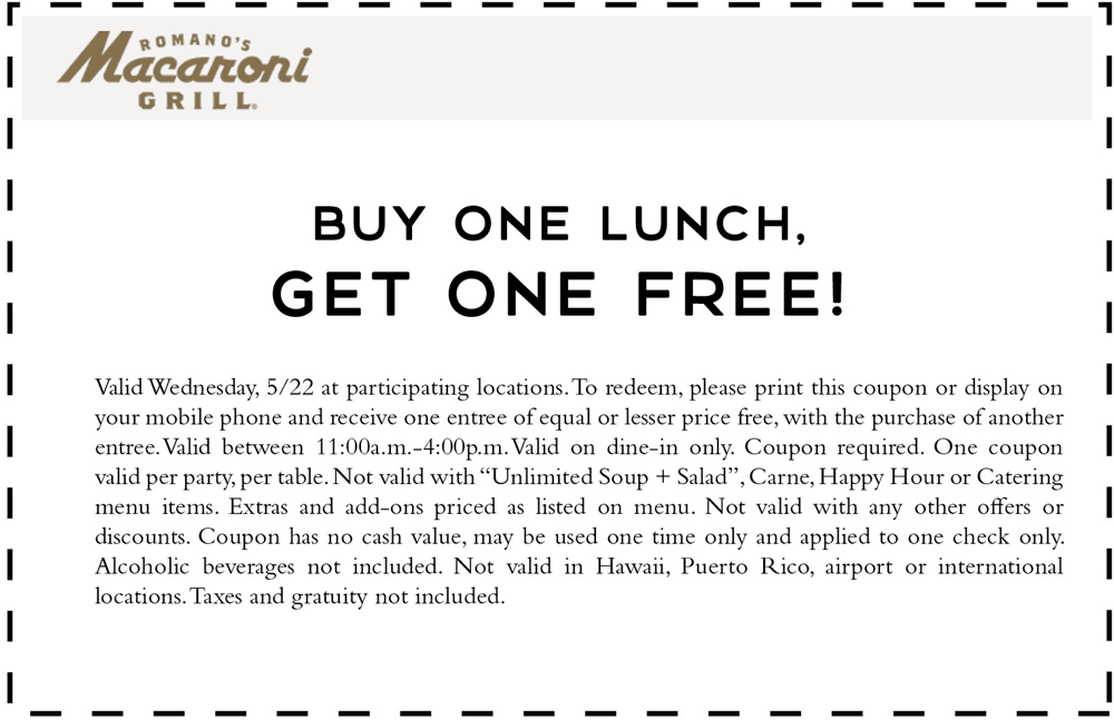 MacaroniGrill.com Promo Coupon Second lunch free today at Macaroni Grill