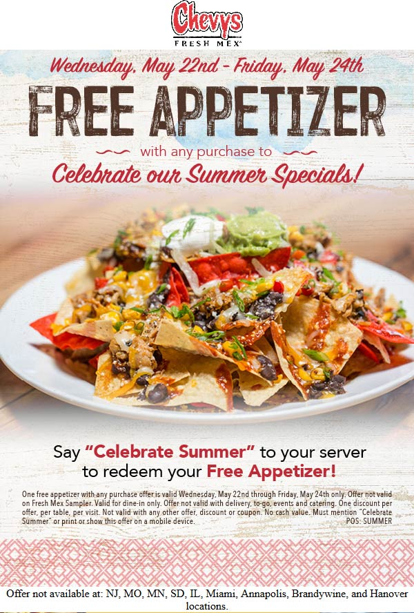 Chevys Fresh Mex Coupon June 2019 Free appetizer with any order at Chevys Fresh Mex