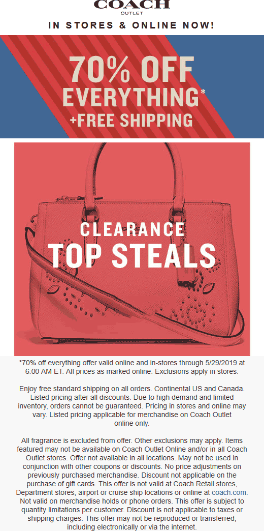 Coach.com Promo Coupon 70% off everything at Coach Outlet, ditto online