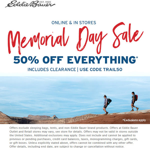 Eddie Bauer Coupon November 2019 50% off at Eddie Bauer, or online via promo code TRAIL50