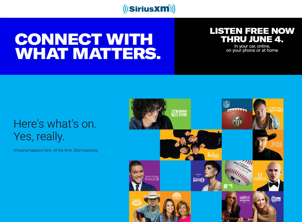 SiriusXM Coupon February 2020 Free SiriusXM satellite radio, in-app or desktop through the 4th