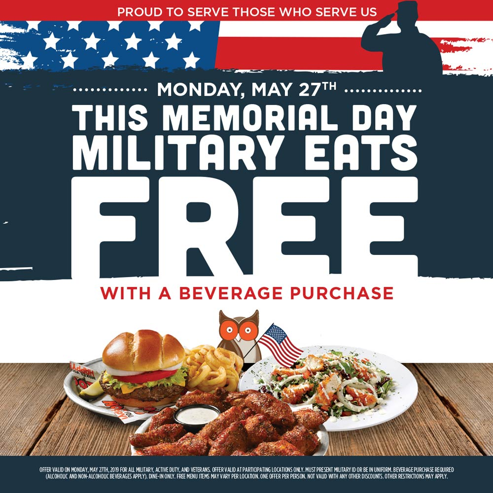 Hooters Coupon October 2019 Military eats free Monday at Hooters restaurants