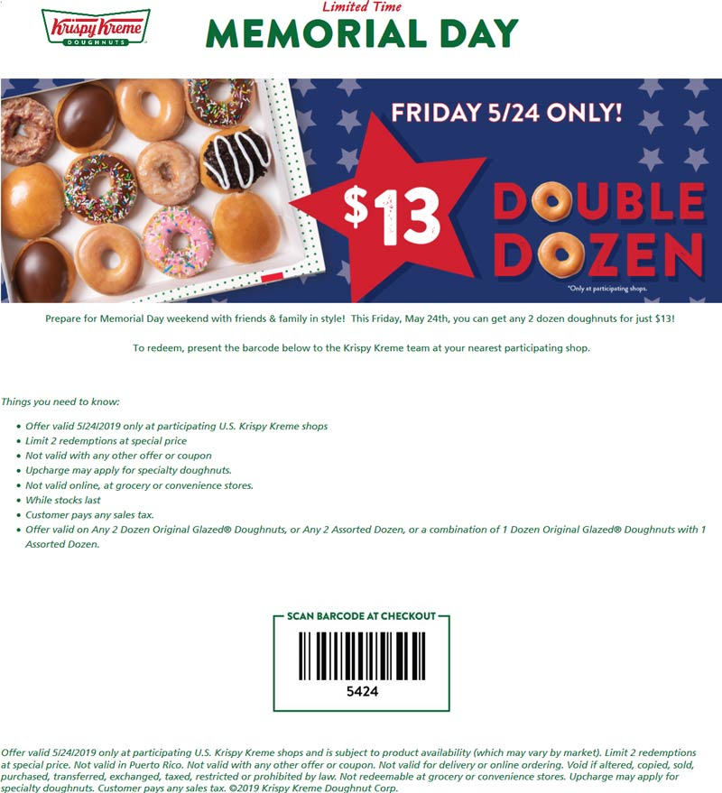Krispy Kreme Coupon October 2019 2 dozen for $13 today at Krispy Kreme doughnuts
