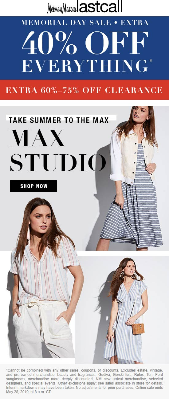 Last Call Coupon November 2019 Extra 40% off everything at Neiman Marcus Last Call, ditto online
