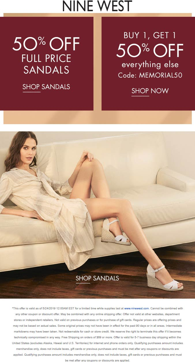 Nine West Coupon August 2019 50% off sandals & more online at Nine West via promo code MEMORIAL50