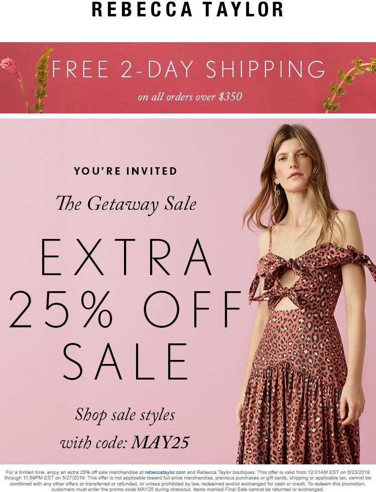 Rebecca Taylor Coupon November 2019 25% off at Rebecca Taylor, or online via promo code MAY25