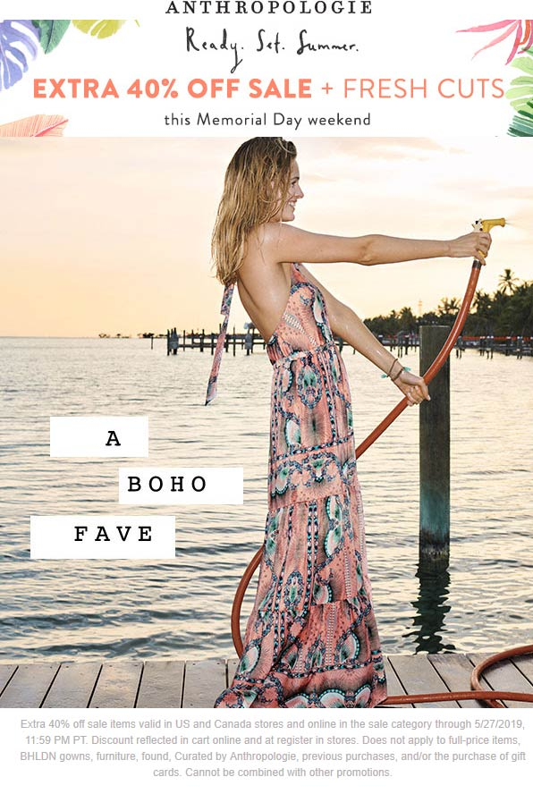 Anthropologie.com Promo Coupon Extra 40% off sale items at Anthropologie, ditto online