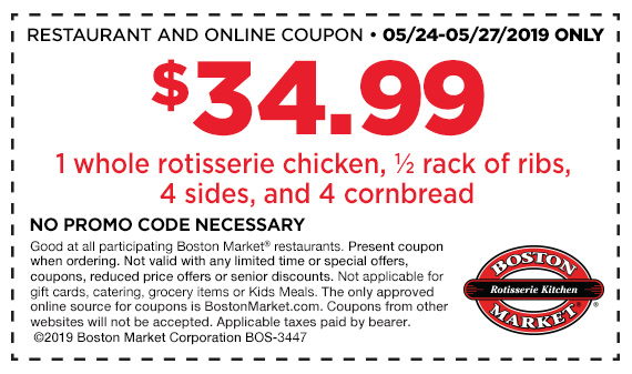 Boston Market Coupon June 2019 Whole chicken + ribs + 4 sides = $35 at Boston Market restaurants