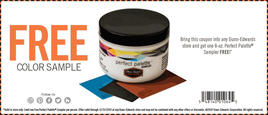 Dunn-Edwards Coupon January 2020 8oz paint free at Dunn-Edwards stores