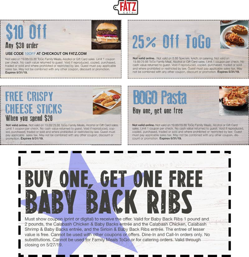 Fatz Cafe Coupon August 2019 Second pasta or ribs free & more at Fatz Cafe
