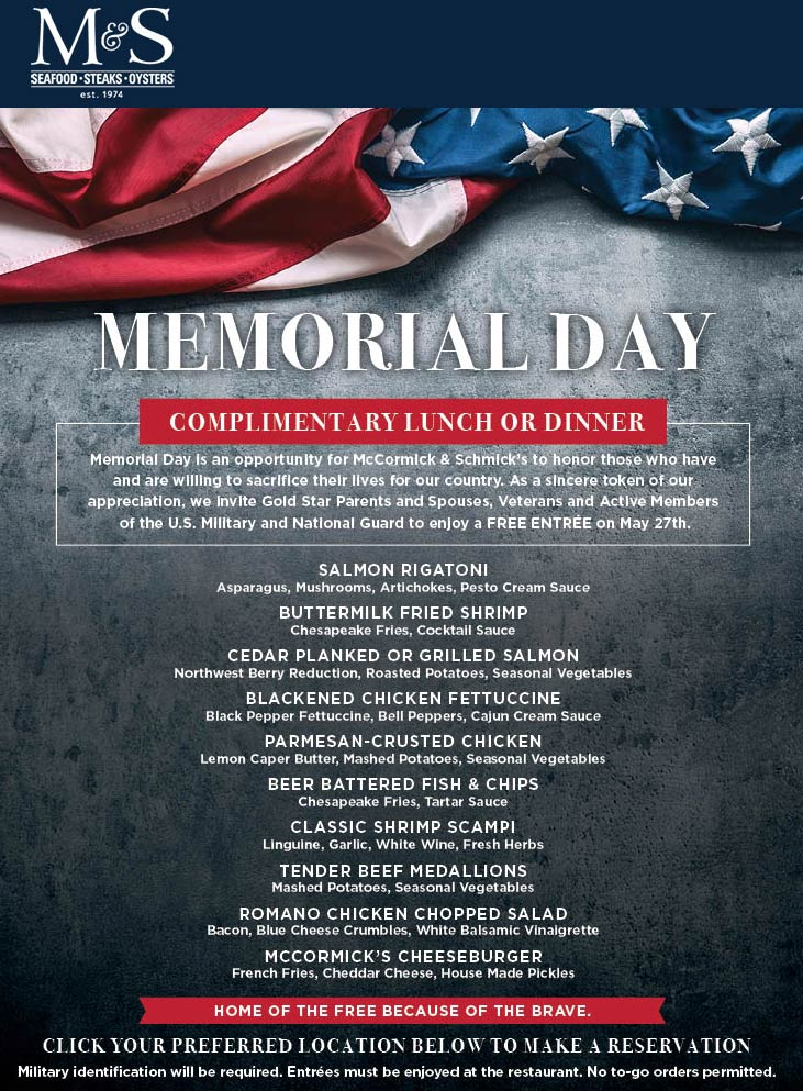 McCormick & Schmicks Coupon June 2019 Militry enjoy a free lunch or dinner Monday at McCormick & Schmicks