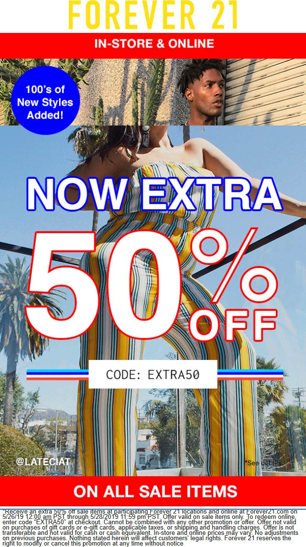 Forever 21 Coupon February 2020 Extra 50% off sale items at Forever 21, or online via promo code EXTRA50