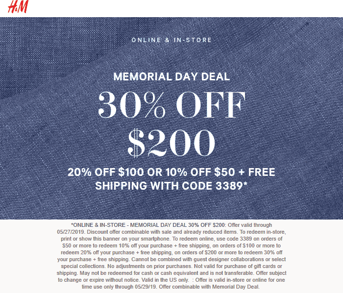 H&M Coupon February 2020 10-30% off at H&M, or online via promo code 3389