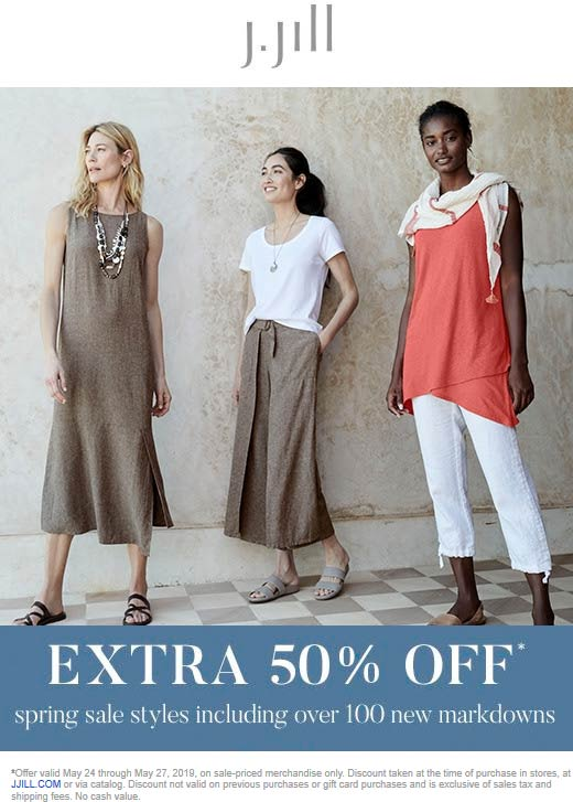 J.Jill Coupon November 2019 Extra 50% off sale items at J.Jill, ditto online