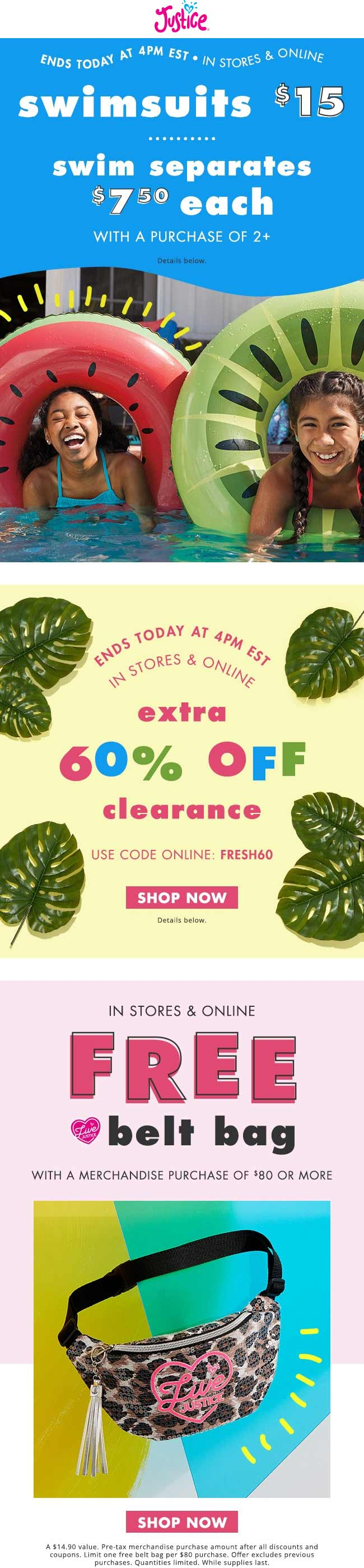 Justice Coupon November 2019 Extra 60% off clearance til 4p today at Justice, or online via promo code FRESH60