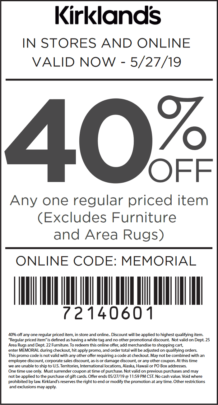 Kirklands Coupon November 2019 40% off a single item at Kirklands, or online via promo code MEMORIAL