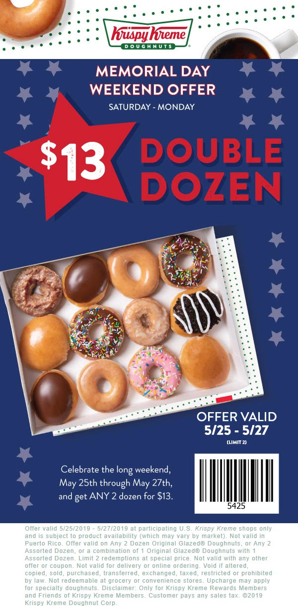 Krispy Kreme Coupon January 2020 2 dozen doughnuts for $13 at Krispy Kreme