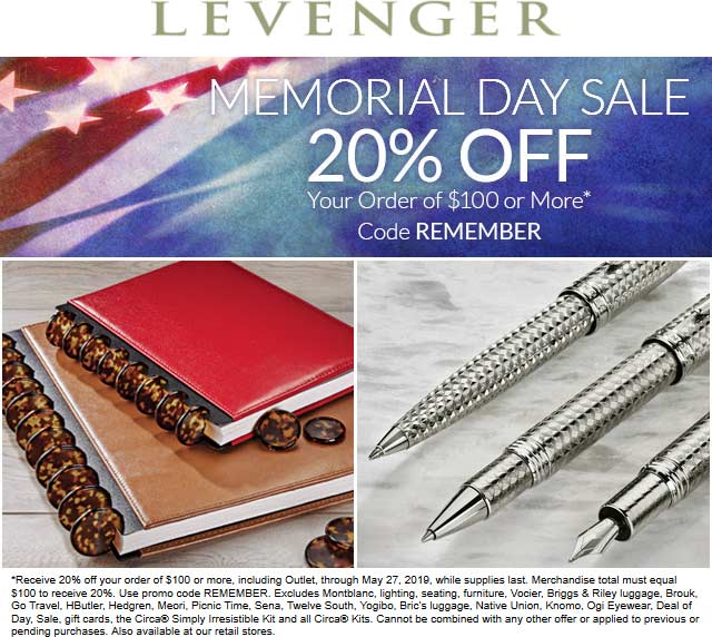 Levenger.com Promo Coupon 20% off $100 at Levenger, or online via promo code REMEMBER