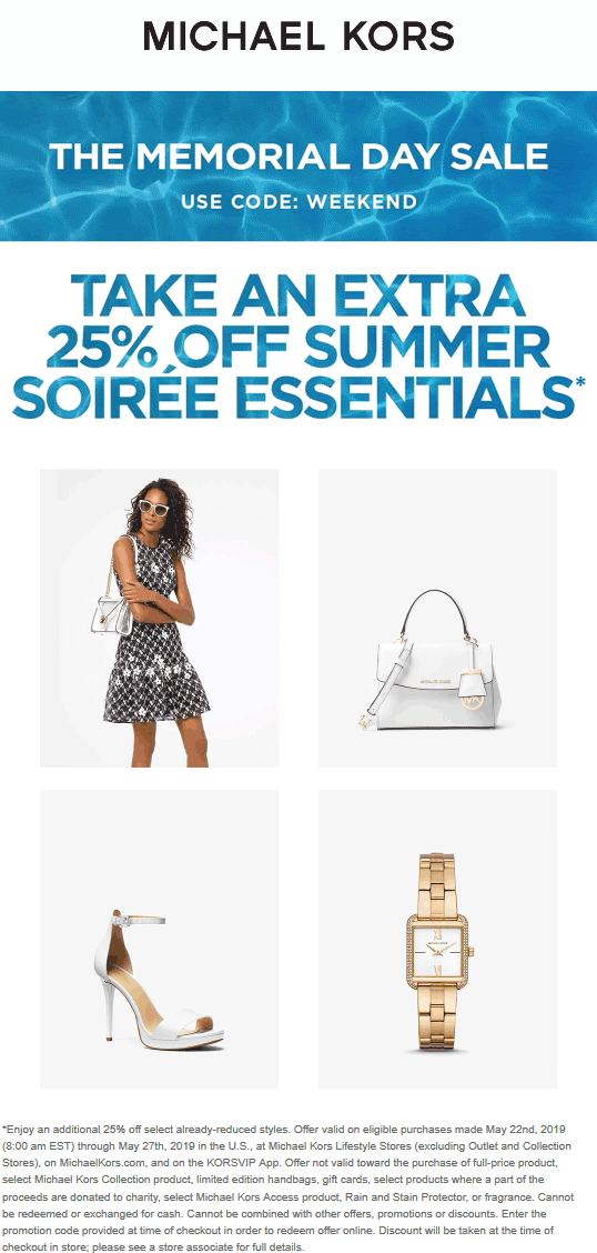 Michael Kors Coupon February 2020 Extra 25% off sale items at Michael Kors, or online via promo code WEEKEND