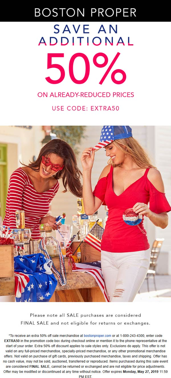 Boston Proper Coupon November 2019 Extra 50% off sale items online today at Boston Proper via promo code EXTRA50