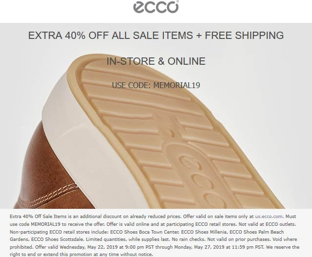 ECCO Coupon February 2020 Extra 40% off sale items at ECCO, or online via promo code MEMORIAL19