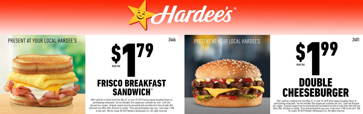 Hardees.com Promo Coupon $2 double cheeseburger & more at Hardees restaurants