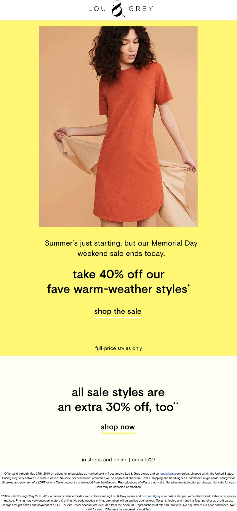 Lou&Grey.com Promo Coupon Extra 30% off sale items & more today at Lou & Grey, ditto online