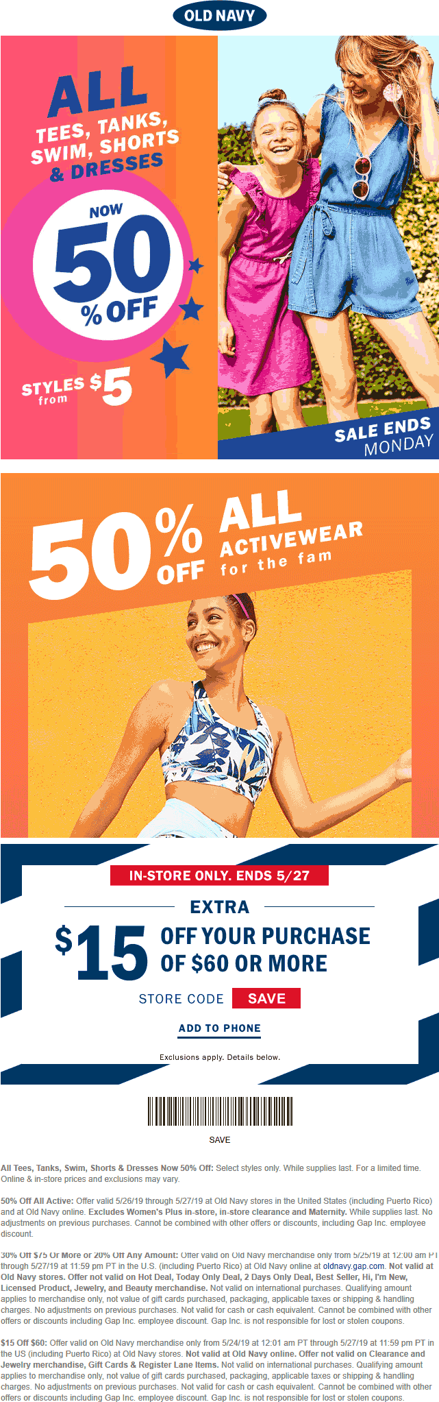 Old Navy Coupon January 2020 $15 off $60 & more today at Old Navy, or 30% off $75 online via promo code MORE