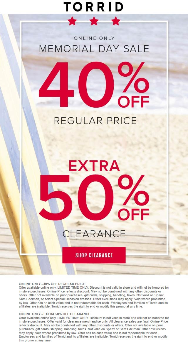 Torrid Coupon February 2020 40% off online today at Torrid
