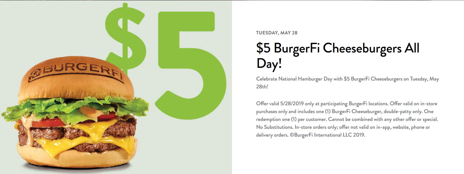 BurgerFi.com Promo Coupon $5 cheeseburgers today at BurgerFi restaurants