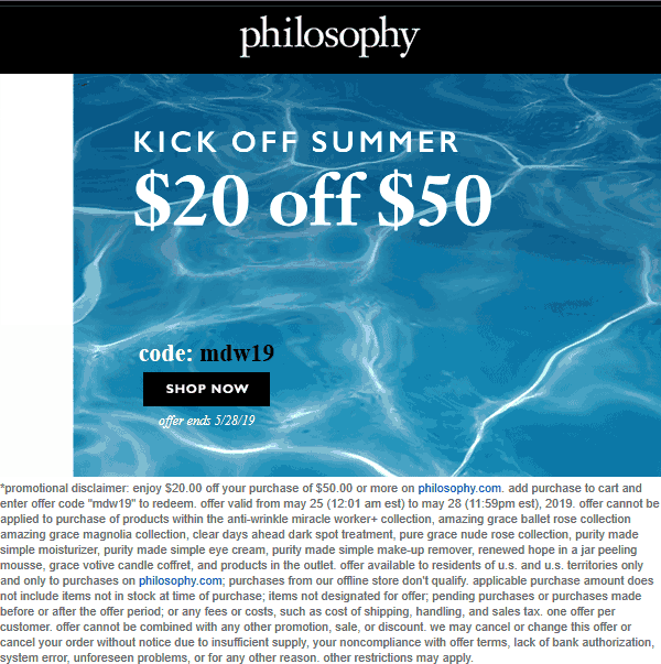 Philosophy Coupon July 2020 $20 off $50 online today at Philosophy via promo code mdw19