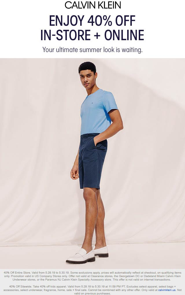 Calvin Klein Coupon August 2019 40% off at Calvin Klein, ditto online