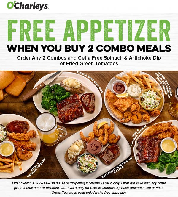 OCharleys.com Promo Coupon Free appetizer with your meals at OCharleys