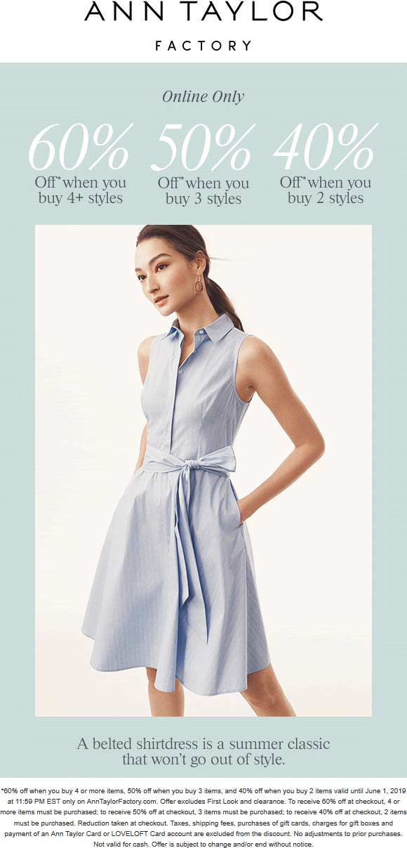 Ann Taylor Factory Coupon June 2019 40-60% off online at Ann Taylor Factory, no code needed