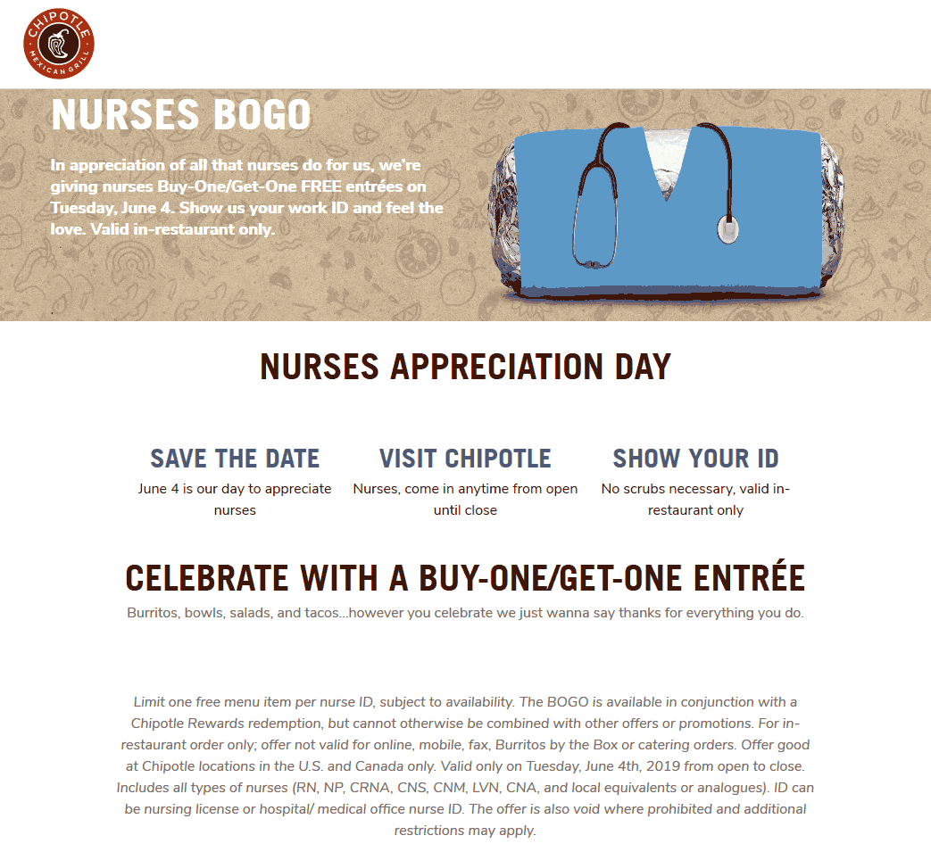 Chipotle Coupon July 2019 Nurses enjoy a second burrito free Tuesday at Chipotle restaurants
