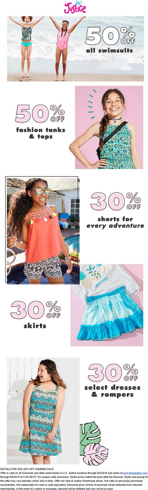 Justice Coupon August 2019 30-50% off Summer gear at Justice, ditto online
