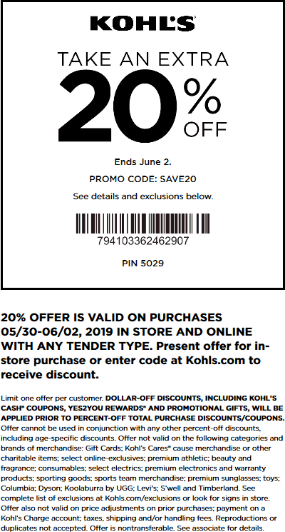 Kohls Coupon November 2019 Extra 20% off at Kohls, or online via promo code SAVE20