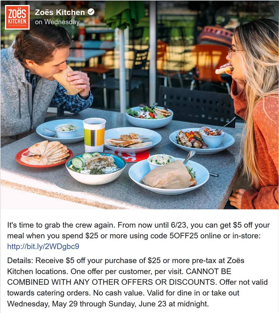 Zoes Kitchen Coupon February 2020 $5 off $25 at Zoes Kitchen via promo code 5OFF25