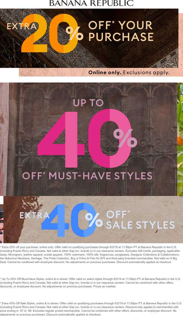BananaRepublic.com Promo Coupon Extra 40% off sale items & more at Banana Republic, ditto online