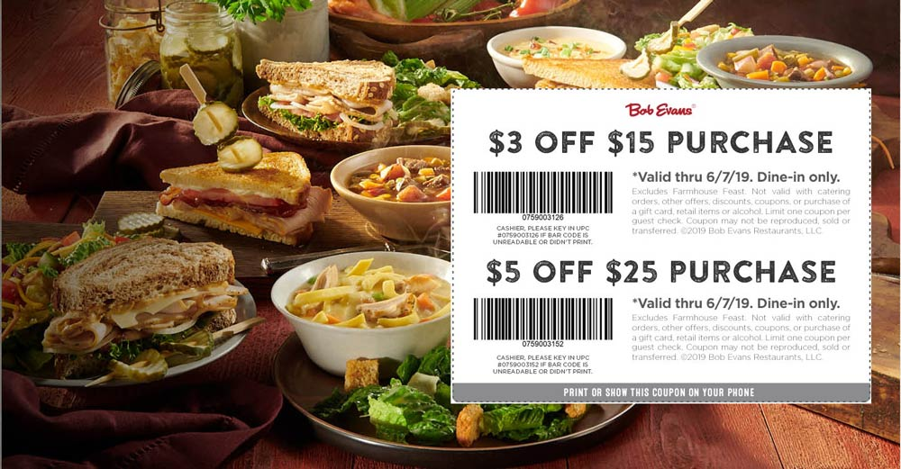 Bob Evans Coupon November 2019 $3 off $15 & more at Bob Evans restaurants