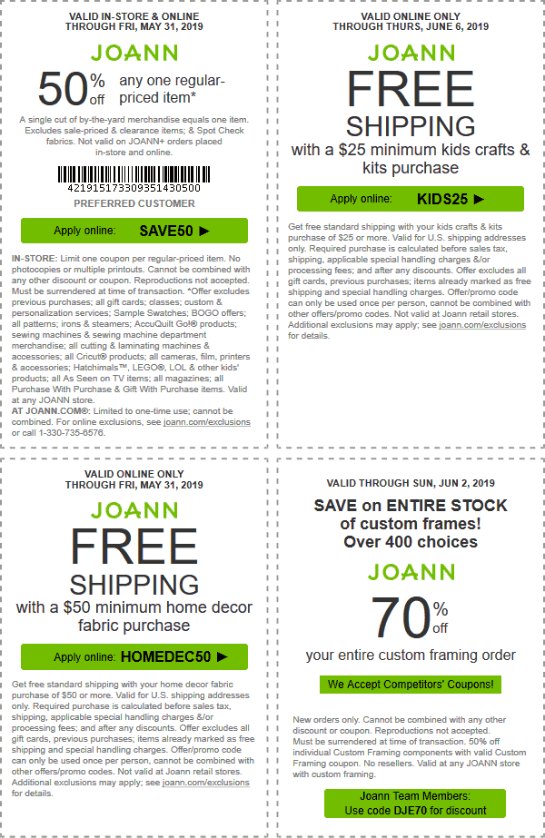 Joann Coupon June 2019 50% off a single item today at Joann, or online via promo code SAVE50