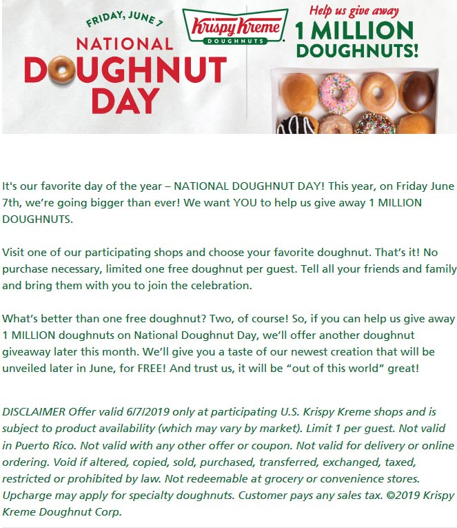 Krispy Kreme Coupon February 2020 Free doughnut the 7th at Krispy Kreme