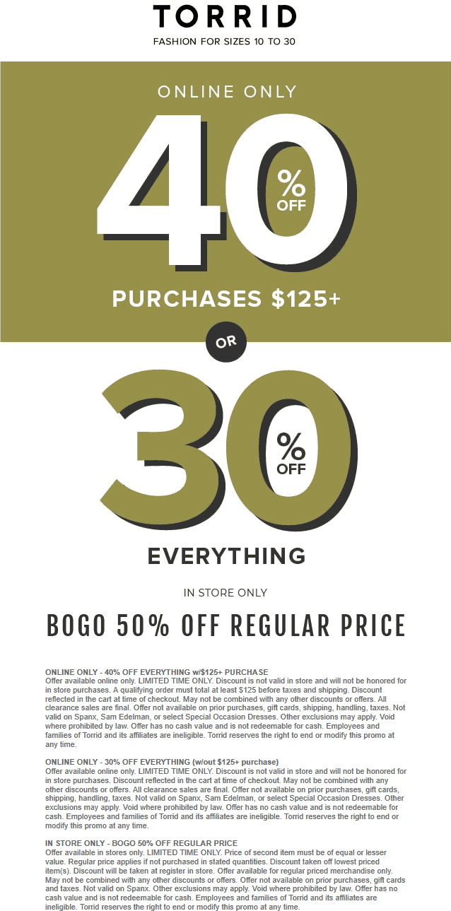 Torrid Coupon August 2019 Second item 50% off at Torrid, or 30-40% off everything online