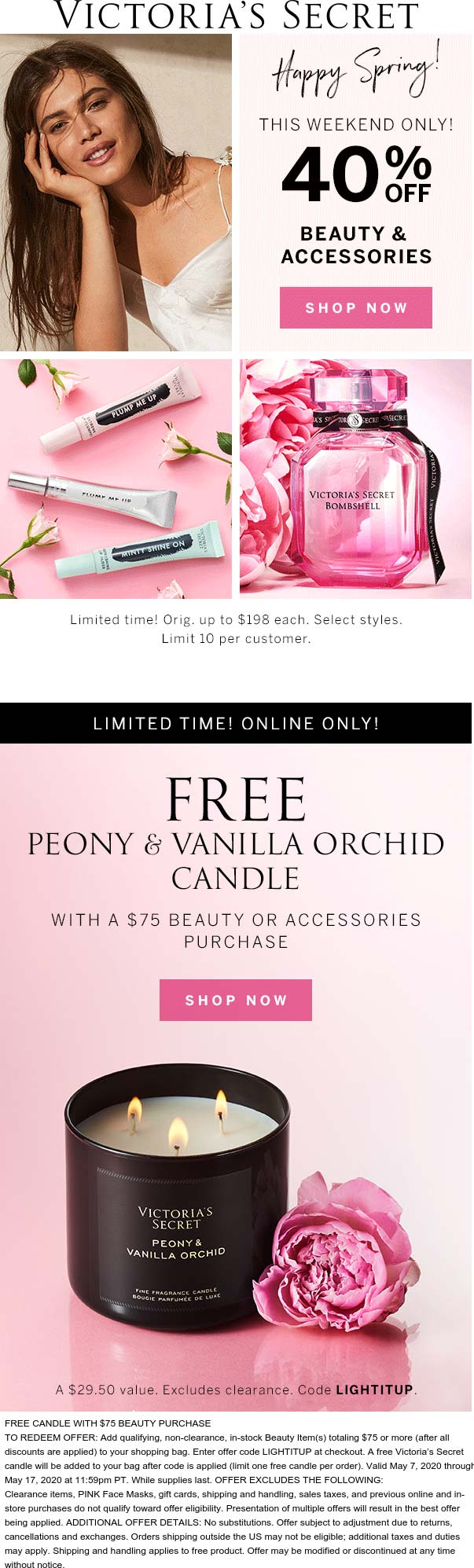 40% off beauty & accessories + free candle on $75 at Victorias Secret #victoriassecret